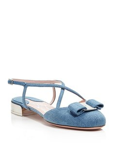 Salvatore Ferragamo Felma Varina Strap Mary-jane Denim Oxford Blue Flats