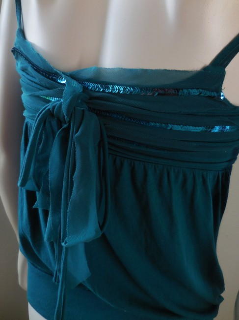 Express Blue Green Spaghetti Strap Stretchy Top Teal Blue