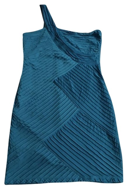 Item - Turquoise One Shoulder Strap/ Mid-length Night Out Dress Size 12 (L)