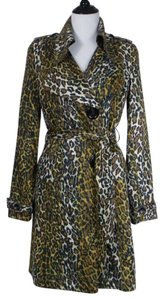 Alberto Makali Animal Print Dacron Belted Trench Coat