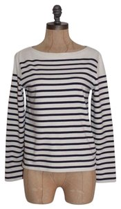 Lauren Ralph Lauren Striped Nautical Navy Stretchy Top BLUE IVORY