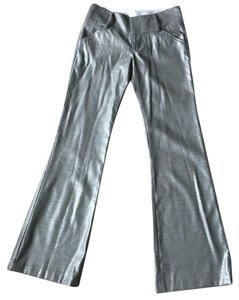 Alice + Olivia Fancy Metallic Flared Holiday Trouser Pants Silver