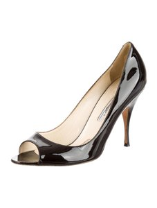 Brian Atwood Open Toe Kitten Heels Black Pumps