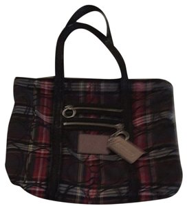 Coach Tote in Red/black Plaid