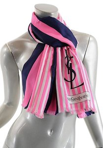 Saint Laurent YSL 100% Silk Oblong Scarf Navy/Hot Pink/White w/Fringe
