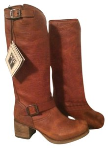 Frye Tall Heel Leather Buckle Cognac Boots
