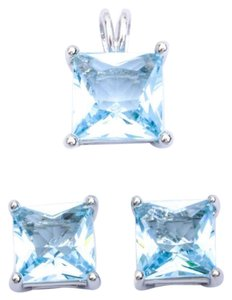 9.2.5 Stunning square aquamarine earrings and pendant set free chain