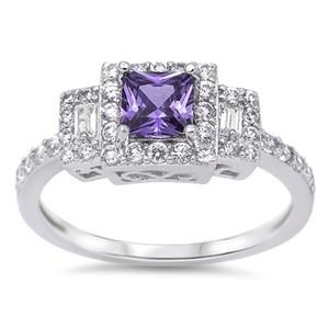 9.2.5 Gorgeous amethyst and white sapphire princess cocktail ring size 7