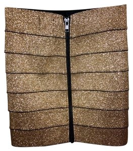 Pleasure Doing Business Metallic Glitter Fitted New With Tags Mini Skirt Gold