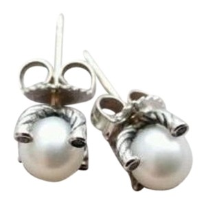 David Yurman Sterling Silver 9.5mm Pearl Diamond Earrings