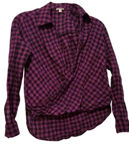 Lily White Plaid Top Purple plaid
