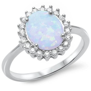 9.2.5 Gorgeous opal and white sapphire princess cocktail ring size 7