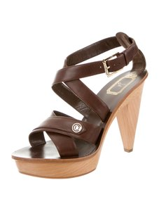 Dior Wood Platform Leather Gold Buckle Brown Sandals