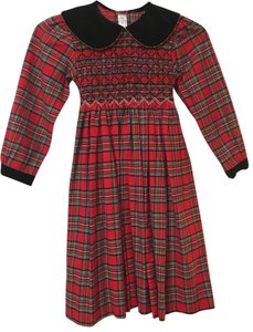 Lord & Taylor short dress red plaid black collar and cuffs Girls on Tradesy