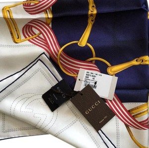 Gucci NEW GUCCI Horsebit Silk Twill Scarf