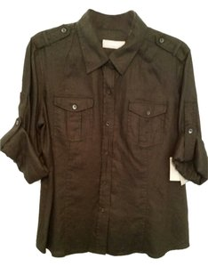 Liz Claiborne Linen Button Down Shirt Black
