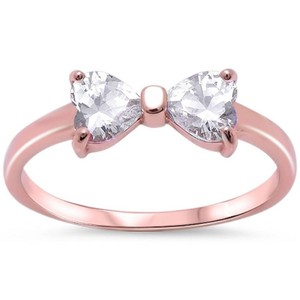 9.2.5 Stunning rose gold silver white topaz bow ring size 6