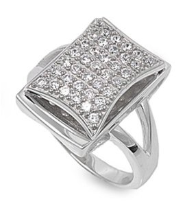 9.2.5 Upscale bold square white topaz paved cocktail ring size 8