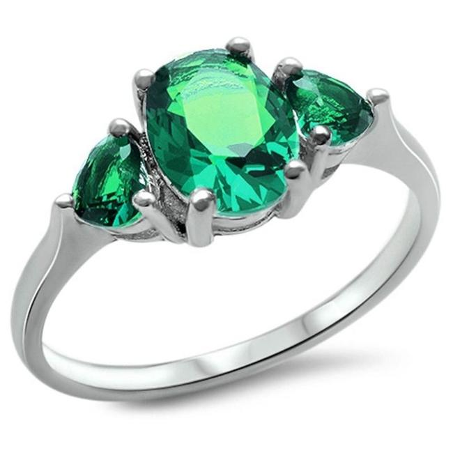 Item - Green Emerald 3 Stone Holiday Cocktail Size 7 Ring