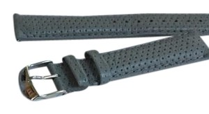 Michele Grey perforated leather strap