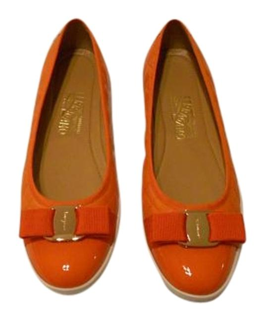 """Item - Orange """"Rufina"""" Patent Leather Cap Toe/Quilted Nappa Calf Leather Flats Size US 9 Regular (M, B)"""
