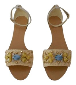 Dolce&Gabbana Design Crystal Accents Goldtone Studs Made In Italy Beige Sandals