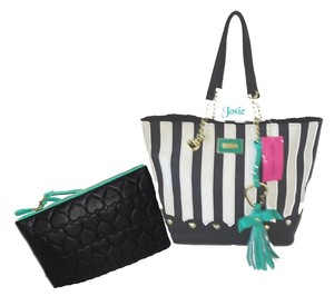 Betsey Johnson Striped Green Trim Pouch Tote in BLACK/BONE