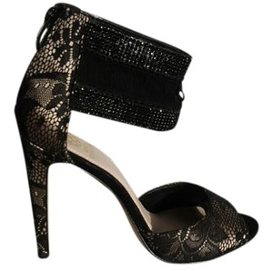 Vince Camuto Black Lace over ceam Sandals