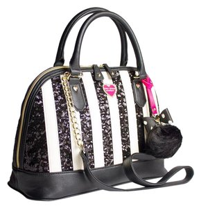 Betsey Johnson Black Bone Stripe Sequin Dome Satchel in black/bone