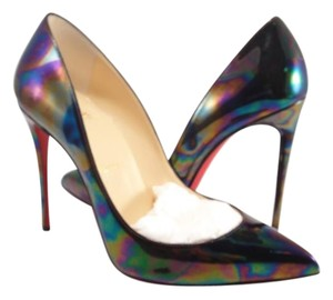 Christian Louboutin Pigalle Follies Oil Slick Stellar 39 Gasoline black Pumps