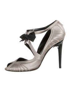 Gucci Open Toe Satin Grey Formal