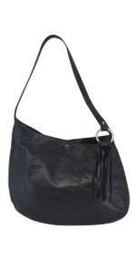 BCBGMAXAZRIA Black Leather Fringe Shoulder Bag