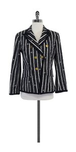 Tory Burch Navy White Striped Cotton Blazer