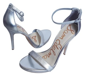Sam Edelman Eleanor Heel Leather Ankle Silver Sandals