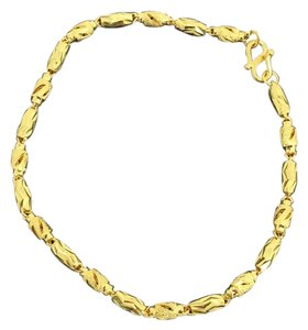 24K Solid Gold Diamond Cut Tube Design Bracelet