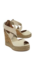 Tory Burch Cream Strappy Canvas Wedges