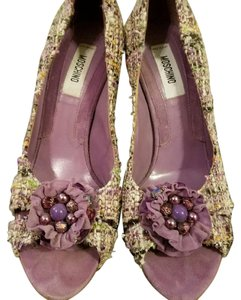 Moschino Peep Toe Tweed Canvas Suede Purple Pumps