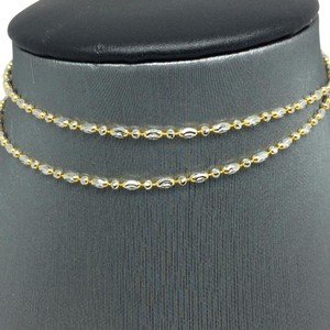 Other 18K Solid Two-Tones Gold Rice Beads Diamond Cut Chain 18 Inches