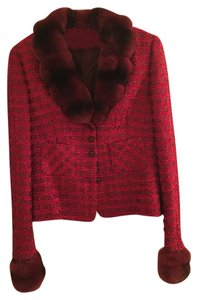 Escada Vintage Escada Suit Red Tweed Wool W/ Dyed Rabbit Fur Collar Cuffs