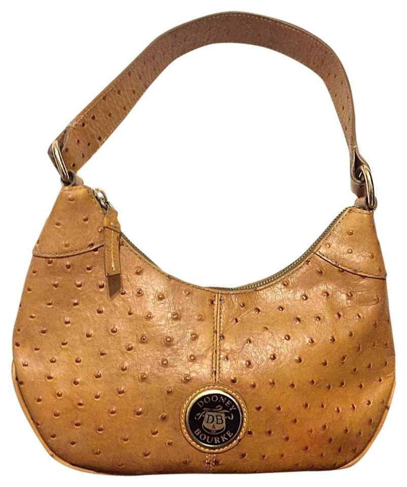 Dooney   Bourke Small Circle Logo Brown Ostrich Leather Hobo Bag ... 538c42c7ef