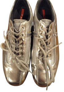 Prada Patent Leather Silver Athletic