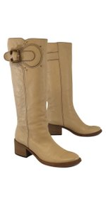 Chloé Tan Leather Vintage Gold Buckle Boots