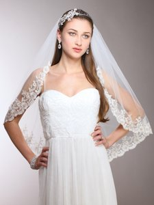 Mariell White Medium 1-layer Mantilla with Crystals Beads & Lace Edge Bridal Veil