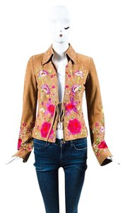 Dolce&Gabbana Suede Floral Embroidered Brown Jacket