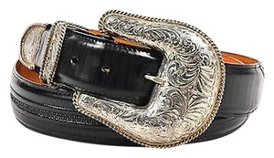 Lucchese Lucchese Black Leather Sterling Silver Plated Oversized Buckle Belt