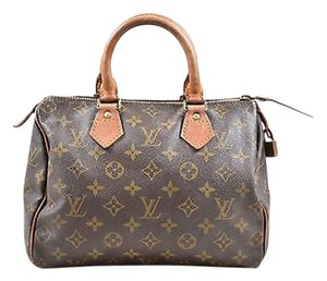 Louis Vuitton Vintage Coated Canvas Leather Monogram Speedy 25 Satchel in Brown