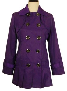 Guess Skirted Pleated Lined Pea Coat