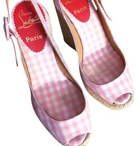 Christian Louboutin Pink w/ white polka dots Wedges