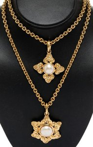 Chanel Chanel Gold and Faux Pearl Pendant Double Chain Necklace