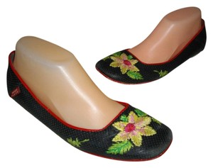 Miss Sixty Floral Casual Perforated Holes Red Piping Black Flats